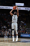 Keyshawn Woods (1) of the Wake Forest Demon Deacons attempts a three-point shot during first half action against the Virginia Tech Hokies at the LJVM Coliseum on January 10, 2018 in Winston-Salem, North Carolina.  The Hokies defeated the Demon Deacons 83-75.  (Brian Westerholt/Sports On Film)