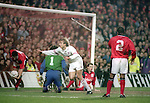 Jurgen Klinsmann of Bayern Munich turns to celebrate scoring a a goal - UEFA Cup - quarter final 2nd leg - Nottingham Forest v Bayern Munich - City Ground - Nottingham - England - 19th March 1996 - Picture Simon Bellis/Sportimage