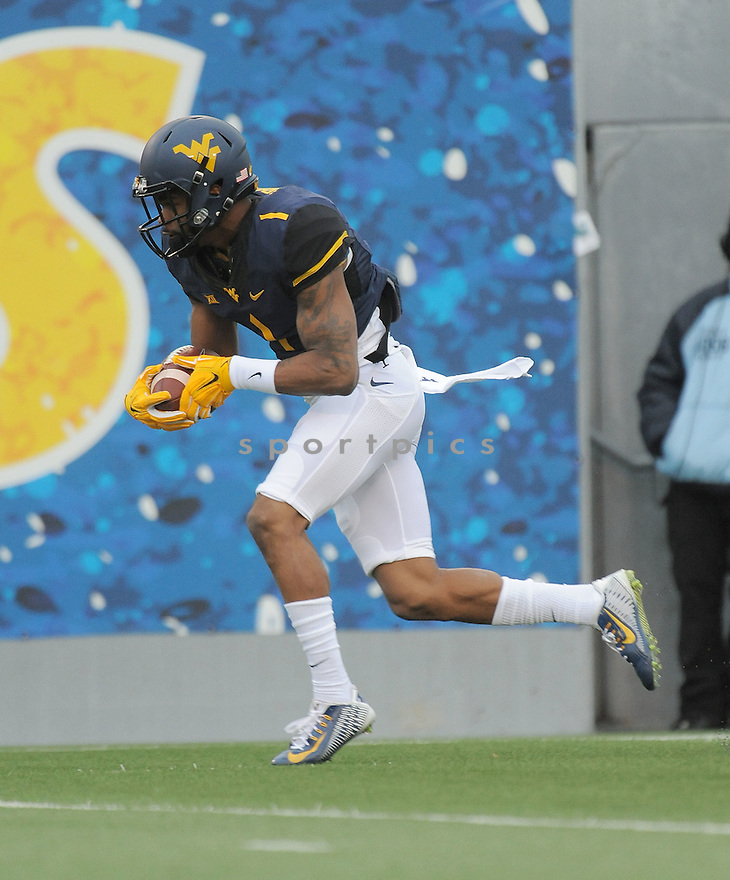 West Virginia Mountaineers Shelton Gibson (1) during a game against the Iowa State Cyclones on November 28, 2015 at Milan Puskar Stadium in Morgantown, WV. West Virginia beat Iowa State 30-6.