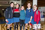 Pobalscoil Chorca Dhuibhne students Sadhbh Ní Bhrosnachain, Lia Ní Shé, Niamh De Brún, Annie Lovisetto and Ciara Ní Chonchúir after the Leaving Certificate first day.