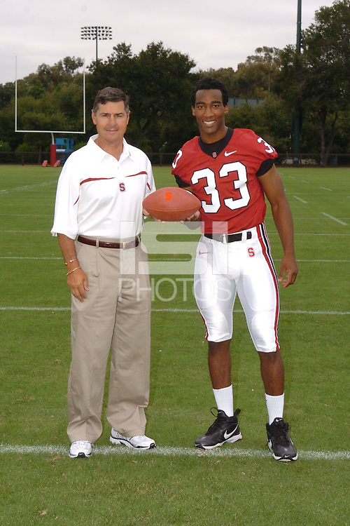 7 August 2006: Stanford Cardinal head coach Walt Harris and Jason Evans during Stanford Football's Team Photo Day at Stanford Football's Practice Field in Stanford, CA.