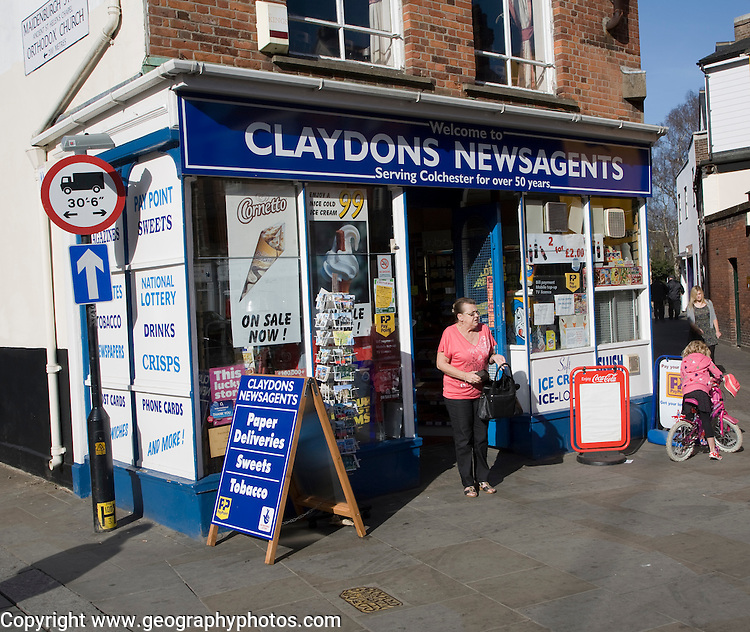Long established family newsagent shop in the town centre, Colchester, Essex, England