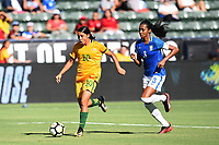 Carson, CA - Thursday August 03, 2017: Sam Kerr, Bruna Benites during a 2017 Tournament of Nations match between the women's national teams of Australia (AUS) and Brazil (BRA) at the StubHub Center.