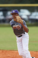 Brennon McNair (2) of Magee, Mississippi during the Baseball Factory All-America Pre-Season Rookie Tournament, powered by Under Armour, on January 13, 2018 at Lake Myrtle Sports Complex in Auburndale, Florida.  (Michael Johnson/Four Seam Images)