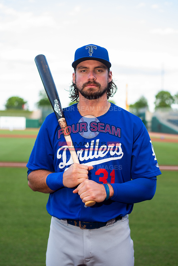 Tulsa Drillers outfielder D.J. Peters (31) poses for a photo on May 13, 2019, at Arvest Ballpark in Springdale, Arkansas. (Jason Ivester/Four Seam Images)