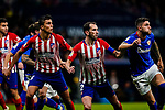 Diego Roberto Godin Leal and Rodrigo Cascante of Atletico de Madrid and Unai Nunez of Athletic de Bilbao during the La Liga 2018-19 match between Atletico de Madrid and Athletic de Bilbao at Wanda Metropolitano, on November 10 2018 in Madrid, Spain. Photo by Diego Gouto / Power Sport Images