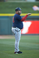 Salem Red Sox manager Joe Oliver (50) coaches third base during the game against the Winston-Salem Dash at BB&T Ballpark on April 20, 2018 in Winston-Salem, North Carolina.  The Red Sox defeated the Dash 10-3.  (Brian Westerholt/Four Seam Images)