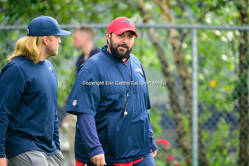 August 3, 2017: New England Patriots defensive coordinator Matt Patricia walks to practice at the New England Patriots training camp held at Gillette Stadium, in Foxborough, Massachusetts. Eric Canha/CSM