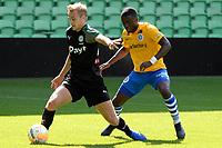 GRONINGEN - Voetbal, FC Groningen - de Graafschap, oefenduel, seizoen 2018--2019, 05-09-2018, FC Groningen speler Tim Handwerker met Myenty Abena