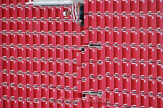 fan and empty seats. Bonneville vs. Clearfield high school football Saturday afternoon at Rice-Eccles Stadium.<br />
