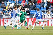 7th January 2018, Estadio Municipal de Butarque, Legales, Spain; La Liga football, Leganes versus Real Sociedad; Omar Ramos (Leganes FC) takes on Diego Llorente (Real Sociedad)