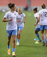 Carli Lloyd (10) of the Houston Dash warms up prior to the game against the Chicago Red Stars on Saturday, April 16, 2016 at BBVA Compass Stadium in Houston Texas.