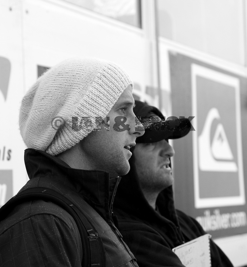 Tom Whitaker and Jake paterson watching the conditions of the Quiksilver Pro in Hossegor, France.