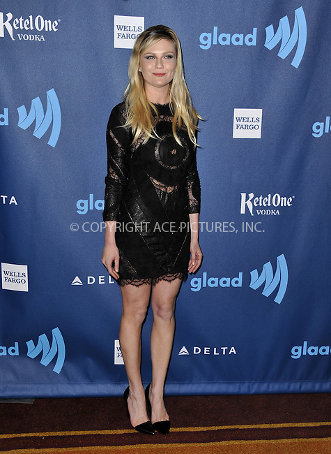 WWW.ACEPIXS.COM......April 20, 2013, Los Angeles, CA.....Kirsten Dunst arriving at the 24th Annual GLAAD Media Awards held at the JW Marriott Los Angeles at L.A. LIVE on April 20, 2013 in Los Angeles, California. ..........By Line: Peter West/ACE Pictures....ACE Pictures, Inc..Tel: 646 769 0430..Email: info@acepixs.com