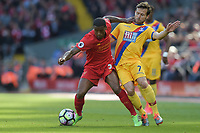 Liverpool's Georginio Wijnaldum battles with Crystal Palace's Yohan Cabaye<br /> <br /> Photographer Terry Donnelly/CameraSport<br /> <br /> The Premier League - Liverpool v Crystal Palace - Sunday 23rd April 2017 - Anfield - Liverpool<br /> <br /> World Copyright &copy; 2017 CameraSport. All rights reserved. 43 Linden Ave. Countesthorpe. Leicester. England. LE8 5PG - Tel: +44 (0) 116 277 4147 - admin@camerasport.com - www.camerasport.com