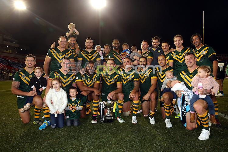 Australia celebrate<br /> Trans Tasman NZRL Kiwis v Australia Test Match at Hunter Stadium, Newcastle, Australia. Friday 6 May 2016. Photo: Paul Seiser / www.photosport.nz / SWpix.com
