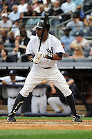 New York Yankees outfielder Curtis Granderson #14 during a game against the Tampa Bay Rays at Yankee Stadium on September 21, 2011 in Bronx, NY.  Yankees defeated Rays 4-2.  Tomasso DeRosa/Four Seam Images