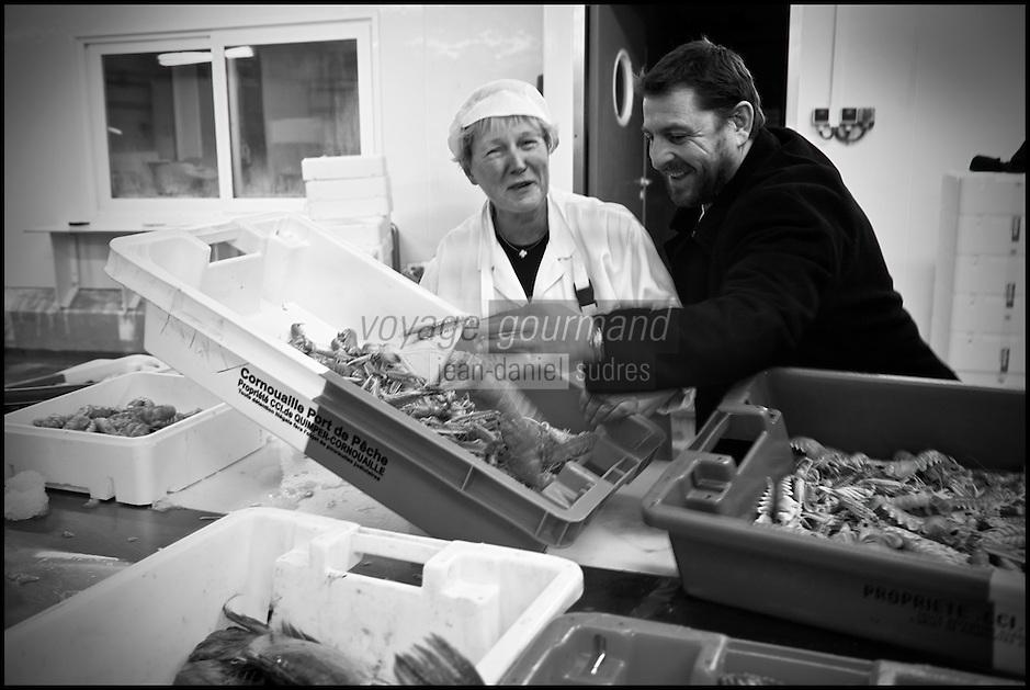 Europe/France/Bretagne/29/Finistère/Loctudy: Olivier Bellin de l'Auberge des Glazicks à Plomodiern choisit ses poissons à la Marée d'Armor à Loctudy [Non destiné à un usage publicitaire - Not intended for an advertising use]