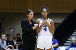 13 November 2016: Duke head coach Joanne P. McCallie (left) talks to Lexie Brown (4). The Duke University Blue Devils hosted the University of Pennsylvania Quakers at Cameron Indoor Stadium in Durham, North Carolina in a 2016-17 NCAA Division I Women's Basketball game. Duke defeated Penn 68-55.