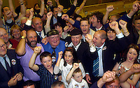 Deputy Jackie healy-Rae rwith supporters  after his election in South kerry in the early hours of  Saturday morning inThe malton Hotel, Killarney.<br />