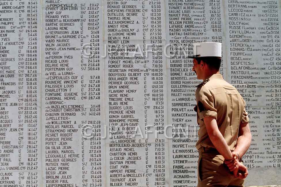 July, 1980, Aubagne, France. Outside the French Foreign Legion museum, a wall with the engraved names of legionnaires fallen at war.