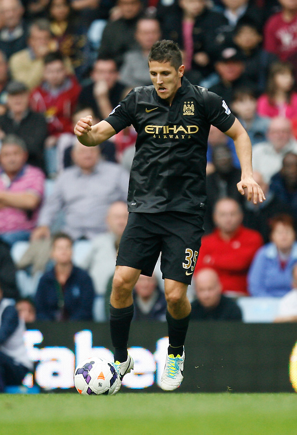 Manchester City's Stevan Jovetic in action during todays match  <br /> <br /> Photo by Jack Phillips/CameraSport<br /> <br /> Football - Barclays Premiership - Aston Villa v Manchester City - Saturday 28th September 2013 - Villa Park - Birmingham<br /> <br /> &copy; CameraSport - 43 Linden Ave. Countesthorpe. Leicester. England. LE8 5PG - Tel: +44 (0) 116 277 4147 - admin@camerasport.com - www.camerasport.com