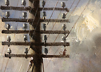 BNPS.co.uk (01202 558833)<br /> Pic: Sworders/BNPS<br />  <br /> The mouse hidden 'Up telegraph pole on right'<br /> <br /> Famous locomotive painting that got the South African security services all steamed up chuffs up for auction.<br /> <br /> An oil painting of a historic steam train which almost sparked a little-known international incident has emerged for sale for £60,000.<br /> <br /> The 1963 artwork by Terence Cuneo shows the last ever steam locomotive built for British Railways, the standard class 9F engine.<br /> <br /> Cuneo, who was the 'official artist' for the Queen's coronation, mischievously hid a tiny mouse in all his painting's as a 'good luck symbol' after a painting he did of a mouse eating cheese earlier in his career sold first at a show.<br /> <br /> The rodent, however, sparked a near-frenzy when Officers on board a Union Castle liner en route to Cape Town examined a print of this painting but to their great frustration could not spot the creature, prompting the irate captain to cable the printers demanding to know where it was hidden. <br /> <br /> But the return message 'Up telegraph pole first right' - was intercepted by South African security forces who deemed it highly suspicious and boarded the ship on its arrival in Cape Town, only standing down when they were shown the painting it referred to.