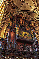 Looking up at the organ in the Dublin Castle Church in Ireland.