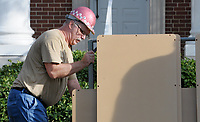 NWA Democrat-Gazette/DAVID GOTTSCHALK Brian Davis, tonal director with Buzard Pipe Organ Builders of Champaign, Il., moves Monday, October 8, 2018, a part to the east side of the swell division of a new pipe organ being installed in the sanctuary at Central United Methodist Church in Fayetteville.  The organ is a gift from an anonymous church member and is requiring more than a year, from concept to final installation, to be complete. Workers are constructing the instrument at their facility in Champaign, Ill., and bringing the parts down for installation. A performance is scheduled for October 28.