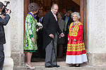 Spanish King Juan Carlos (C), Spanish Queen Sofia (R) and Mexican journalist Elena Poniatowska walk after a ceremony to present Poniatowska the 2013 Cervantes Prize Literature prize at Alcala University in Madrid, Spain. April 23, 2014. (ALTERPHOTOS/Victor Blanco)