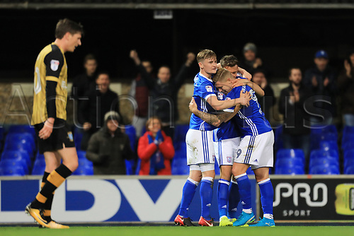 22nd November 2017, Portman Road, Ipswich, England; EFL Championship football, Ipswich versus Sheffield Wednesday; Martyn Waghorn of Ipswich Town celebrates with team mates after scoring making it 2-1