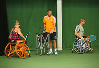 Netherlands, September 24, 2015, Almere, NTC, Bondscoach Rolstoeltennis, Coach Wheelchair tennis, Dennis Sporrel with left Misha Spaanstra end right Maikel Scheffers<br />