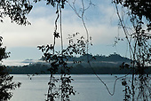 Pará State, Brazil. Early morning at the river with mist.