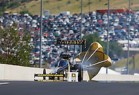Jul 24, 2016; Morrison, CO, USA; NHRA top fuel driver Tony Schumacher during the Mile High Nationals at Bandimere Speedway. Mandatory Credit: Mark J. Rebilas-USA TODAY Sports