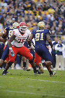 25 October 2008:  Rutgers T Anthony Davis (75) pass blocks..The Rutgers Scarlet Knights defeated the Pittsburgh Panthers 54-34 October 25, 2008 at Heinz Field in Pittsburgh, PA..