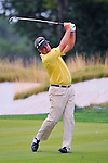27 August 2009: Kenny Perry hits his approach shot during the first round of The Barclays PGA Playoffs at Liberty National Golf Course in Jersey City, New Jersey.