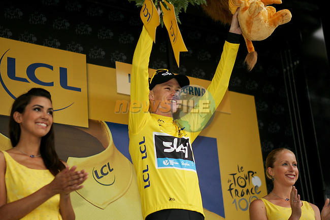 Christopher Froome (GBR) Sky Procycling retains the leader's Yellow Jersey at the end of Stage 19 of the 100th Edition of the 2013 Tour de France from Bourg-d'Oisans to Le Grand-Bornand. 19th July 2013.<br /> (Photo:Thomas van Bracht / Peloton Photos/www.newsfile.ie)