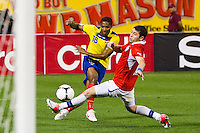 Antonio Valencia (16) of Ecuador crosses a ball. Ecuador defeated Chile 3-0 during an international friendly at Citi Field in Flushing, NY, on August 15, 2012.