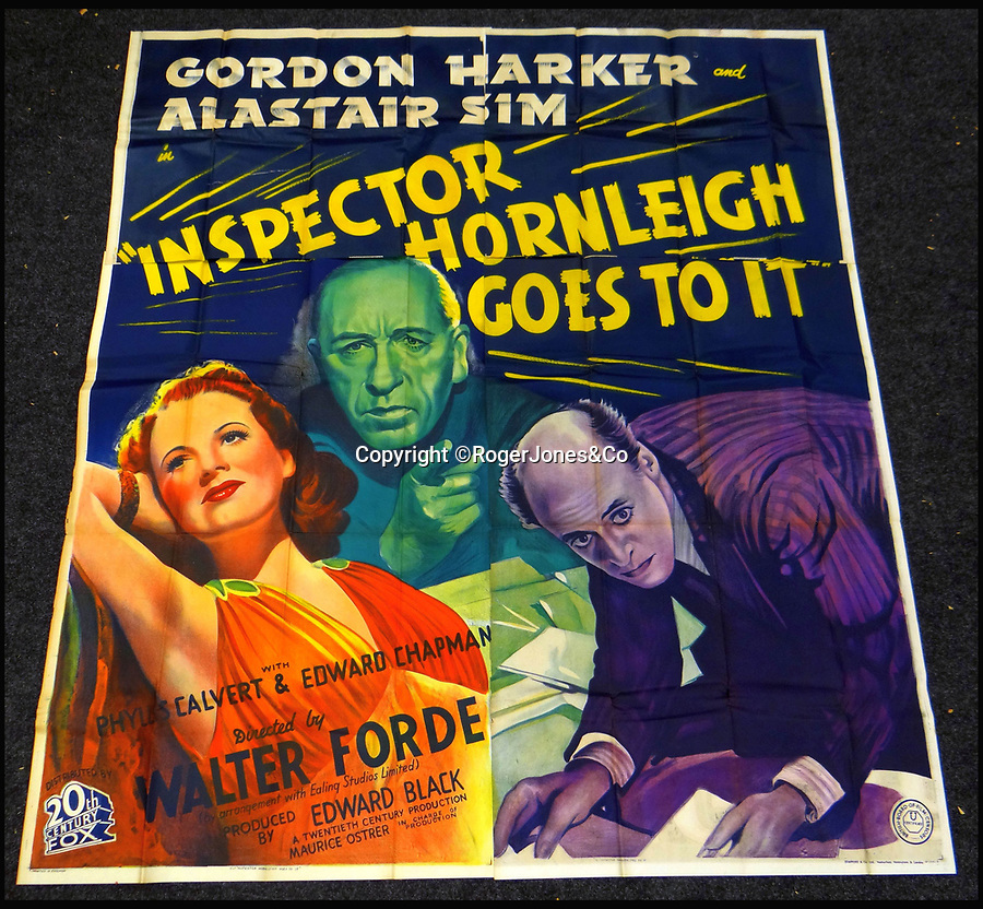 BNPS.co.uk (01202 558833)<br /> Pic: RogerJones&Co/BNPS<br /> <br /> Inspector Hornleigh Goes To It, 1941.<br /> <br /> A rare collection of 1930s and 40s cinema posters discovered by two builders after they were used as carpet underlay have sold for a whopping £75,000.<br /> <br /> More than half the total was made on a single poster, John Wayne's breakthrough film Stagecoach (1939), which sold for £31,000.<br /> <br /> The classic Hollywood movie posters, which were in near pristine condition, are from the halcyon days of cinema and included well known names such as Alfred Hitchcock, Sir Laurence Olivie and Boris Karloff.<br /> <br /> Before the sale auctioneers Rogers Jones & Co said it was difficult to predict what the posters would sell for as no comparisons had ever come to market but the collection of about 120 posters was expected to fetch several thousands.<br /> <br /> Two builders made the discovery in 1985 when they were renovating the home of a local cinema owner who had died in Penarth, south Wales.
