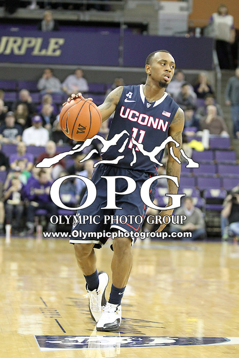 December 22, 2013:  Connecticut's Ryan Boatright against Washington.  Connecticut defeated Washington 82-70 at Alaska Airlines Arena Seattle, Washington.