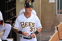 Josh Hamilton (33) of the Salt Lake Bees prior to the game against the Albuquerque Isotopes at Smith's Ballpark on May 22, 2014 in Salt Lake City, Utah.  The 2010 American League MVP from the Los Angeles Angels of Anaheim joined the Bees for a rehab stint. (Stephen Smith/Four Seam Images)