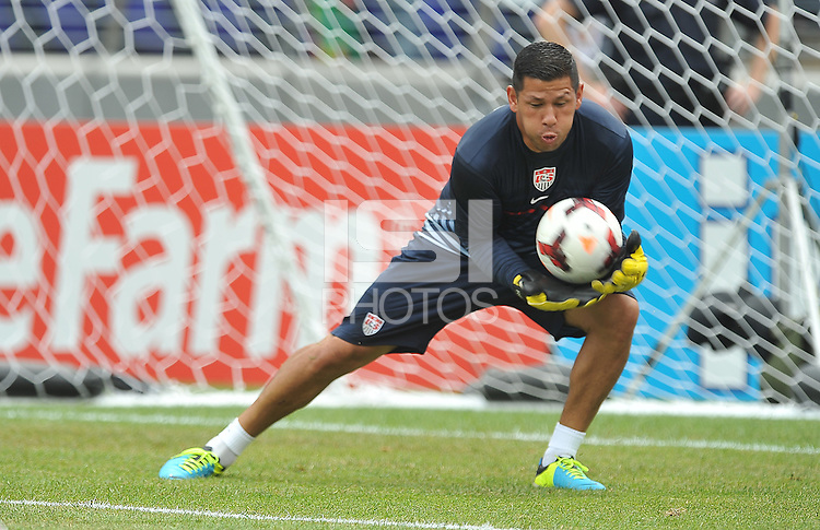 Nick Rimando (1) of the USMNT during pe-game warmups.  The USMNT defeated El Salvador 5-1 at the quaterfinal game of the Concacaf Gold Cup, M&T Stadium, Sunday July 21 , 2013.