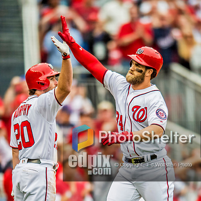 3 April 2017: Washington Nationals outfielder Bryce Harper celebrates hitting his first home run of the season: a solo home run that cleared the right field fence in the 6th inning on Opening Day against the Miami Marlins at Nationals Park in Washington, DC. Harper's homer was his 5th consecutive Opening Day home run since starting his career in Washington as the  Nationals went on to defeat the Marlins 4-2 to open the 2017 MLB Season. Mandatory Credit: Ed Wolfstein Photo *** RAW (NEF) Image File Available ***