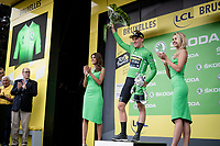 Stage 1 winner Mike Teunissen (NED/Jumbo-Visma) is the first yellow jersey AND green jersey wearer in the 2019 Tour de France<br /> <br /> Stage 1: Brussels to Brussels (BEL/192km) 106th Tour de France 2019 (2.UWT)<br /> <br /> ©kramon