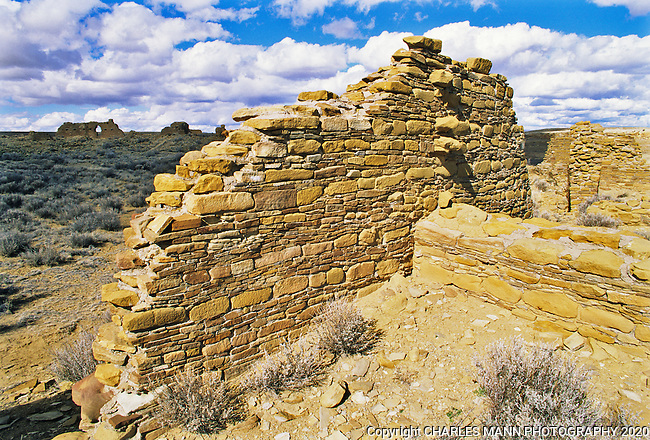 Penasco blanco is one of several specific ruin sites that are part of the overall complex of ruins within th emain boundary of the Chaco Culture National Historical Park.