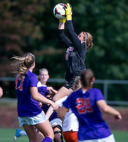 Morgan Stearns (0) of Virginia makes a save at Klockner Stadium in Charlottesville, VA.  Virginia defeated Clemson, 3-0.