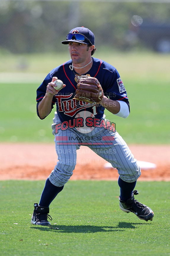 March 18, 2010:  Infielder Brian Bistagne of the Minnesota Twins organization during Spring Training at the Ft. Myers Training Complex in Ft. Myers, FL.  Photo By Mike Janes/Four Seam Images