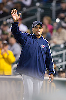Hall of Famer Reggie Jackson waves to the crowd during the International League game between the Scranton\Wilkes-Barre RailRiders and the Charlotte Knights at BB&T BallPark on May 1, 2015 in Charlotte, North Carolina.  The RailRiders defeated the Knights 5-4.  (Brian Westerholt/Four Seam Images)