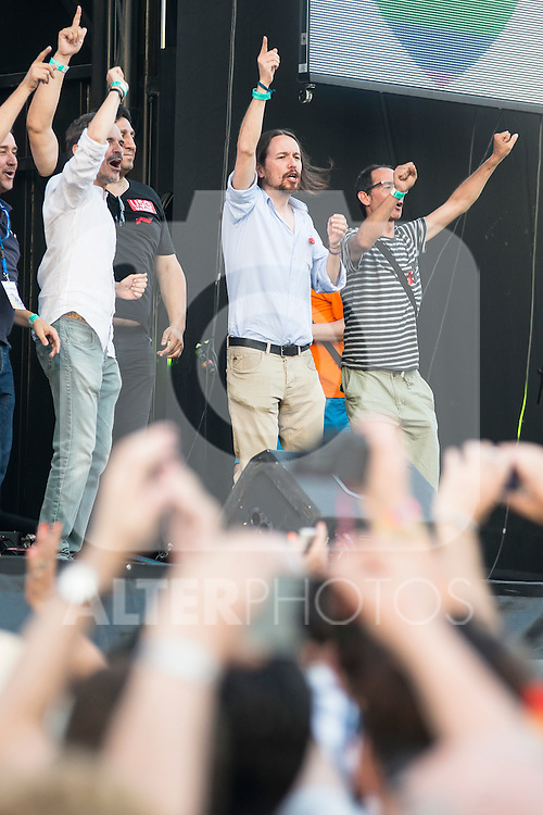 """Leader """"Podemos"""" Pablo Iglesias dancing at the protest during Gay Pride celebrations in Madrid, Spain. July 04, 2015.<br />  (ALTERPHOTOS/BorjaB.Hojas)"""