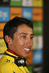 Yellow Jersey winner Egan Bernal (COL) Team Ineos press conference after Stage 20 of the 2019 Tour de France running 59.5km from Albertville to Val Thorens, France. 27th July 2019.<br /> Picture: Colin Flockton | Cyclefile<br /> All photos usage must carry mandatory copyright credit (© Cyclefile | Colin Flockton)